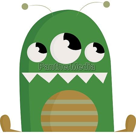 a green 3 eyed monster vector