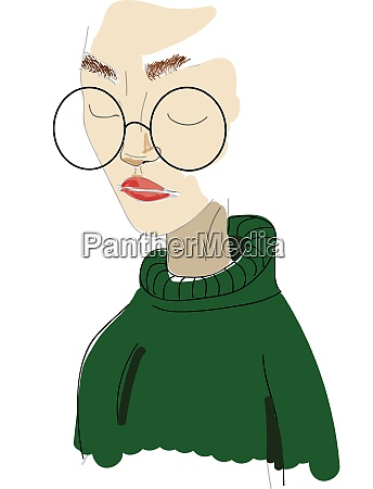 a girl in a green sweater