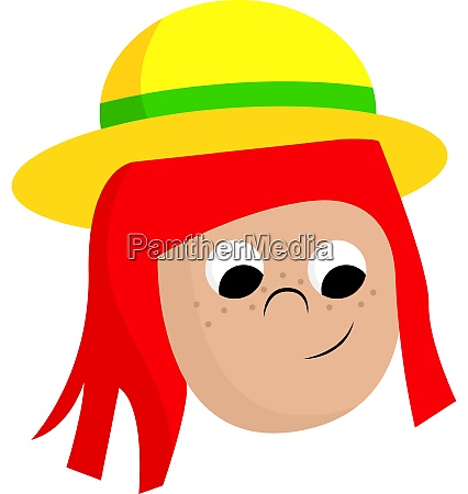 a girl with a yellow hat
