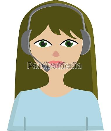 a girl with a headphone vector