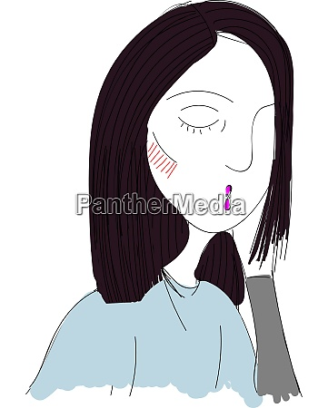 a girl with pink lips vector
