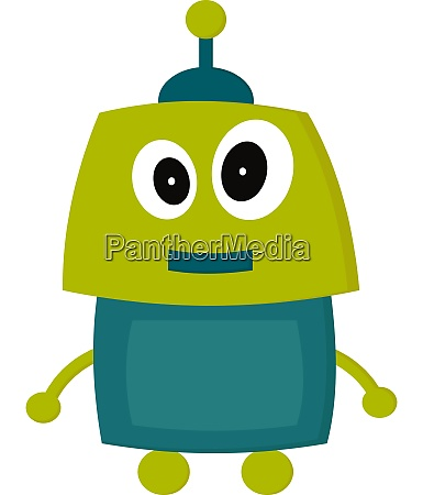 a green happy robot vector or