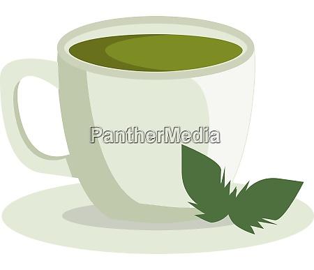 a cup of green tea vector