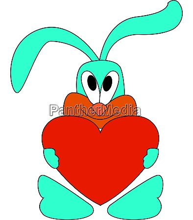 a rabbit holding a red heart