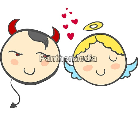 a devil and an angel with