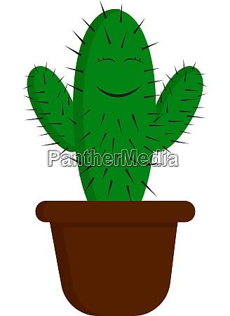 a happy green cactus vector or