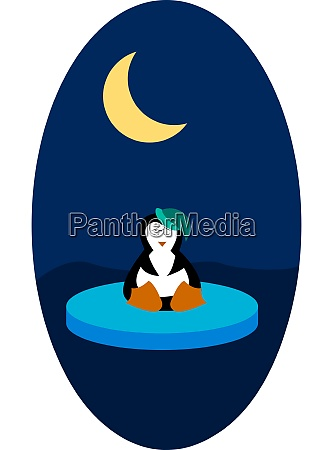 a penguin and a moon vector