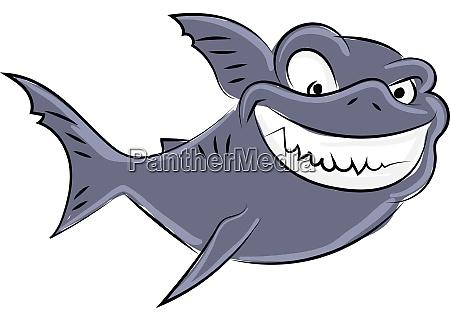 angry shark illustration vector on white