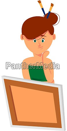 woman drawing illustration vector on white