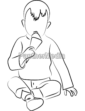 child eating ice cream sketch illustration