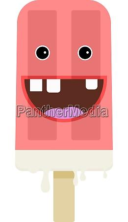crazy pink ice cream illustration vector