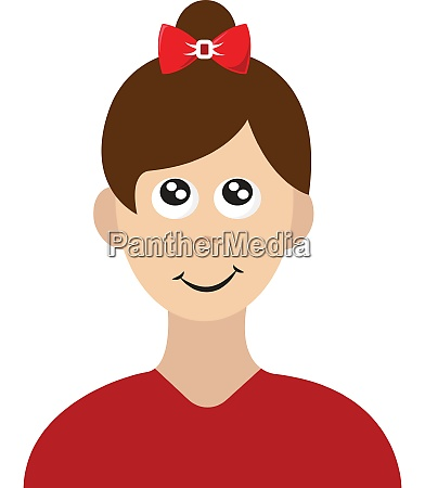 happy girl with red shirt illustration