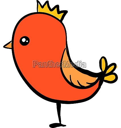 cute orange bird wearing a crown
