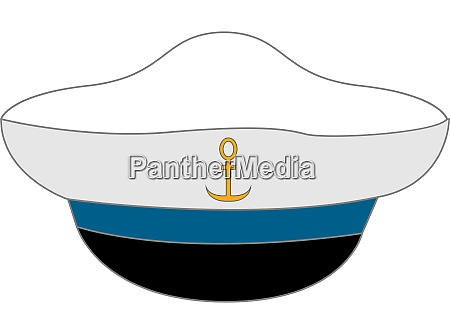 white sailor hat illustration vector on
