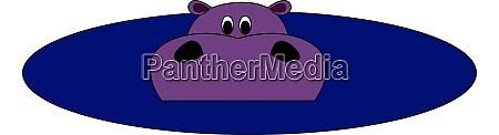 purple hippo in water illustration vector