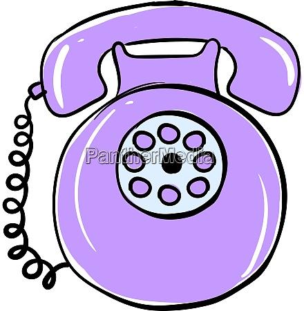 purple retro telephone illustration vector on