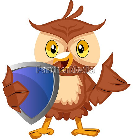 owl with blue shild illustration vector