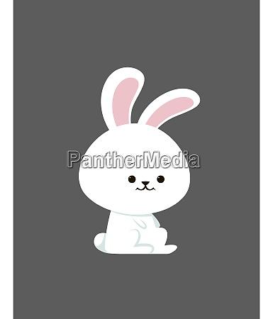 little cute bunny illustration vector on