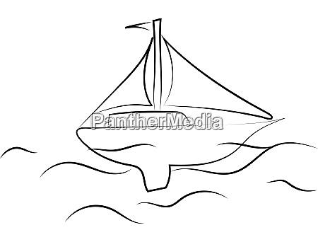boat on sea drawing illustration vector