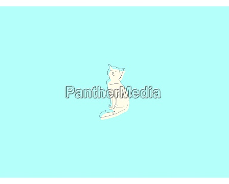 white kitty illustration vector on white