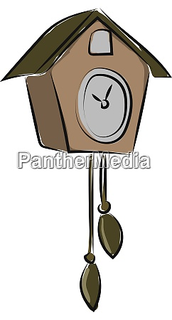 old bird clock illustration vector on