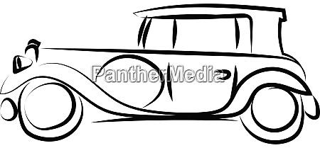 alte retro auto zeichnung illustration vektor