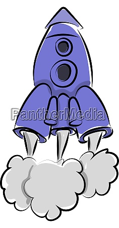 blue rocket ship illustration vector on