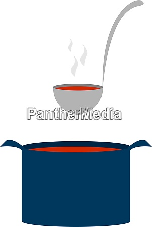 blue pot with soup illustration vector