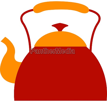 red kettle illustration vector on white