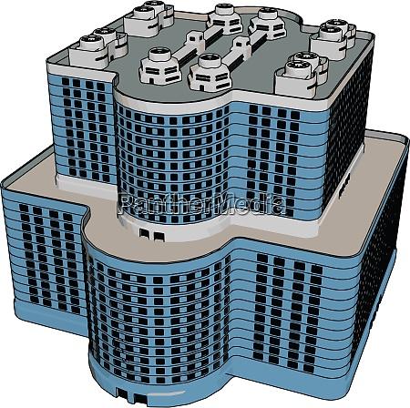 blue business building illustration vector on