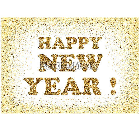 gold glitter happy new year greeting