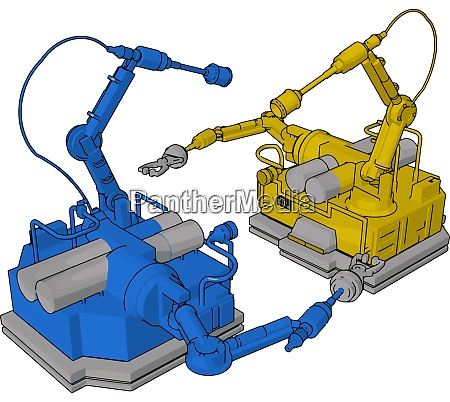 blue and yellow engineering machine illustration