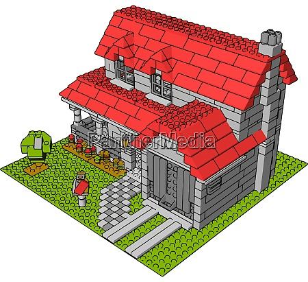 house of bricks illustration vector on