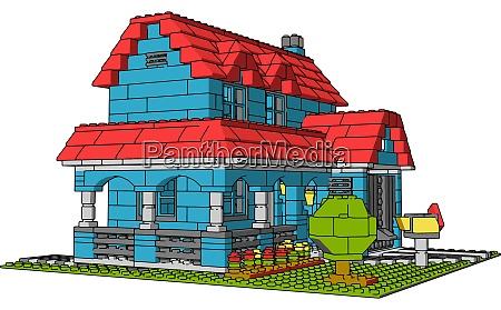 haus aus mehrfarbigen ziegeln illustration vektor