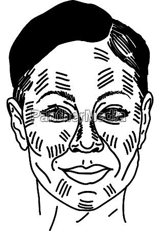 woman head drawing illustration vector on