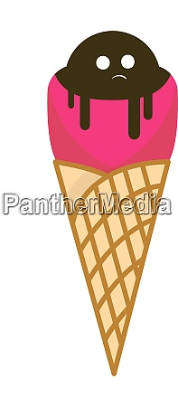 ice cream with eyes illustration vector