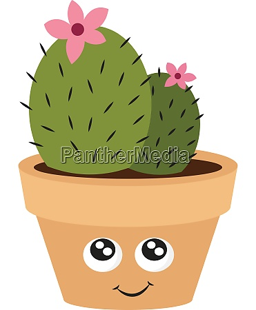 cute cactus with pink flower illustration