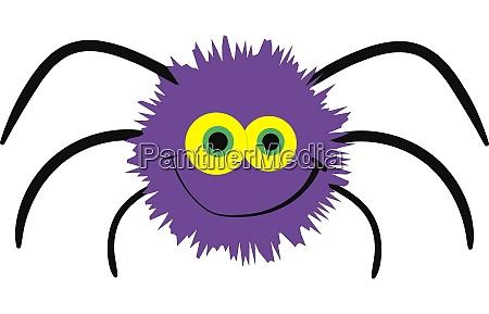 cute purple spider illustration vector on