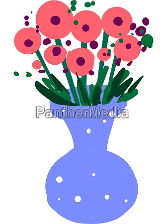 flowers in blue vase illustration vector