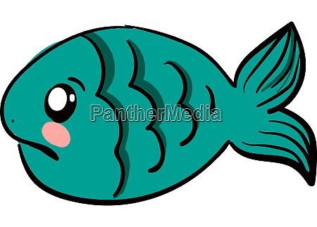 sad blue fish illustration vector on