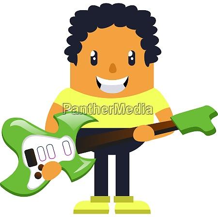 man holding green guitar illustration vector