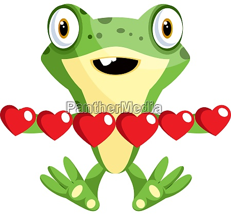frog in love holding hearts illustration