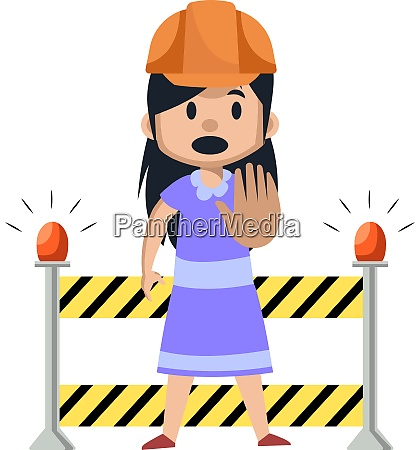 girl on a working construction illustration