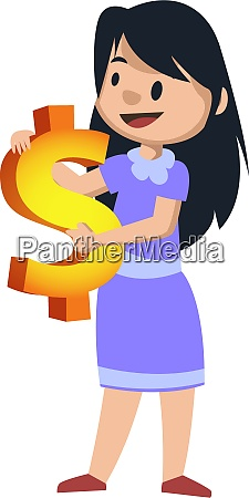 girl with dollar sign illustration vector