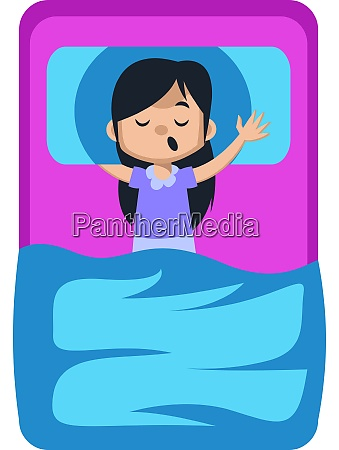 girl sleeping in bed illustration vector