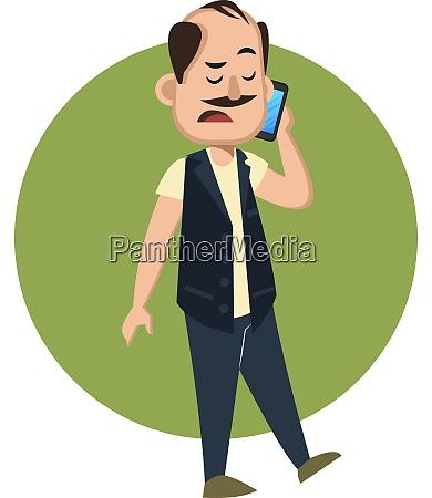 man talking on cellphone illustration vector