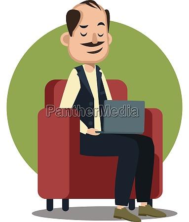 man working on laptop illustration vector