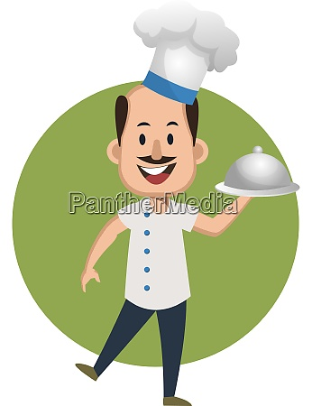 man cooking meal illustration vector on