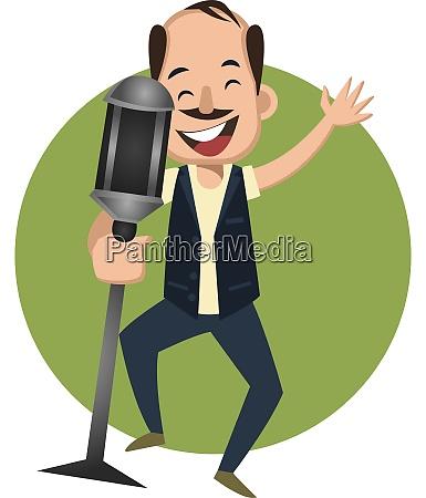 man singing on microphone illustration vector