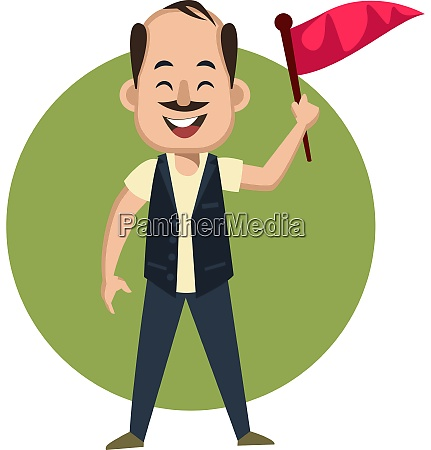 man with red flag illustration vector